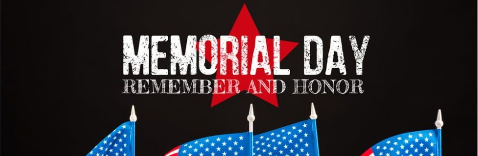 Memorial Day - Remember & Honor with 4 American Flags